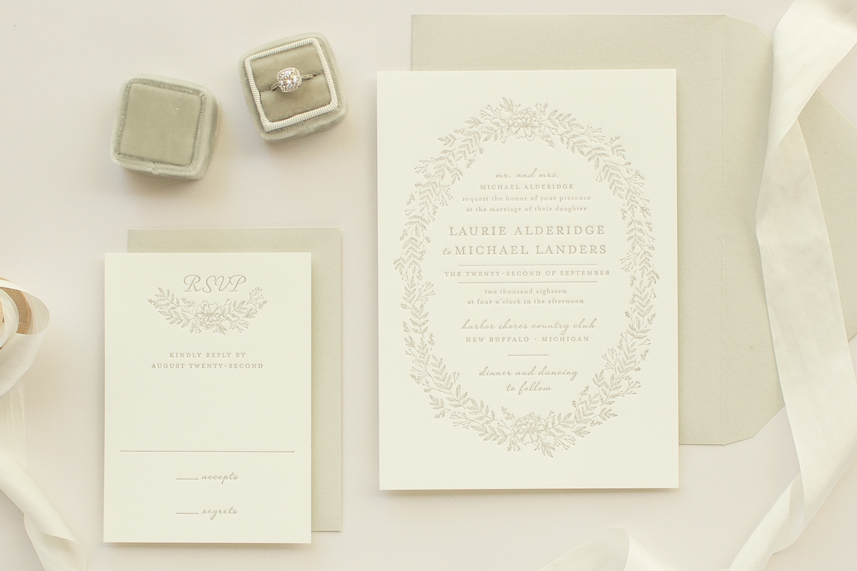Enamored: Wedding Invitation with Letterpress Wreath and Flowers ...