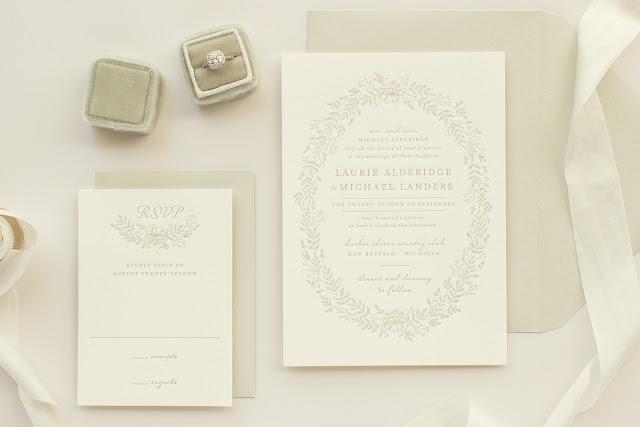 letterpress wedding invitation in taupe