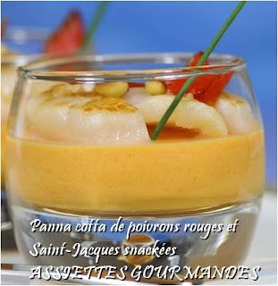 Panna cotta de poivrons rouges et Saint-Jacques