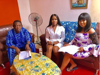 Cee-C Makes Nollywood Debut, Pictured On Set With Nkem Owoh