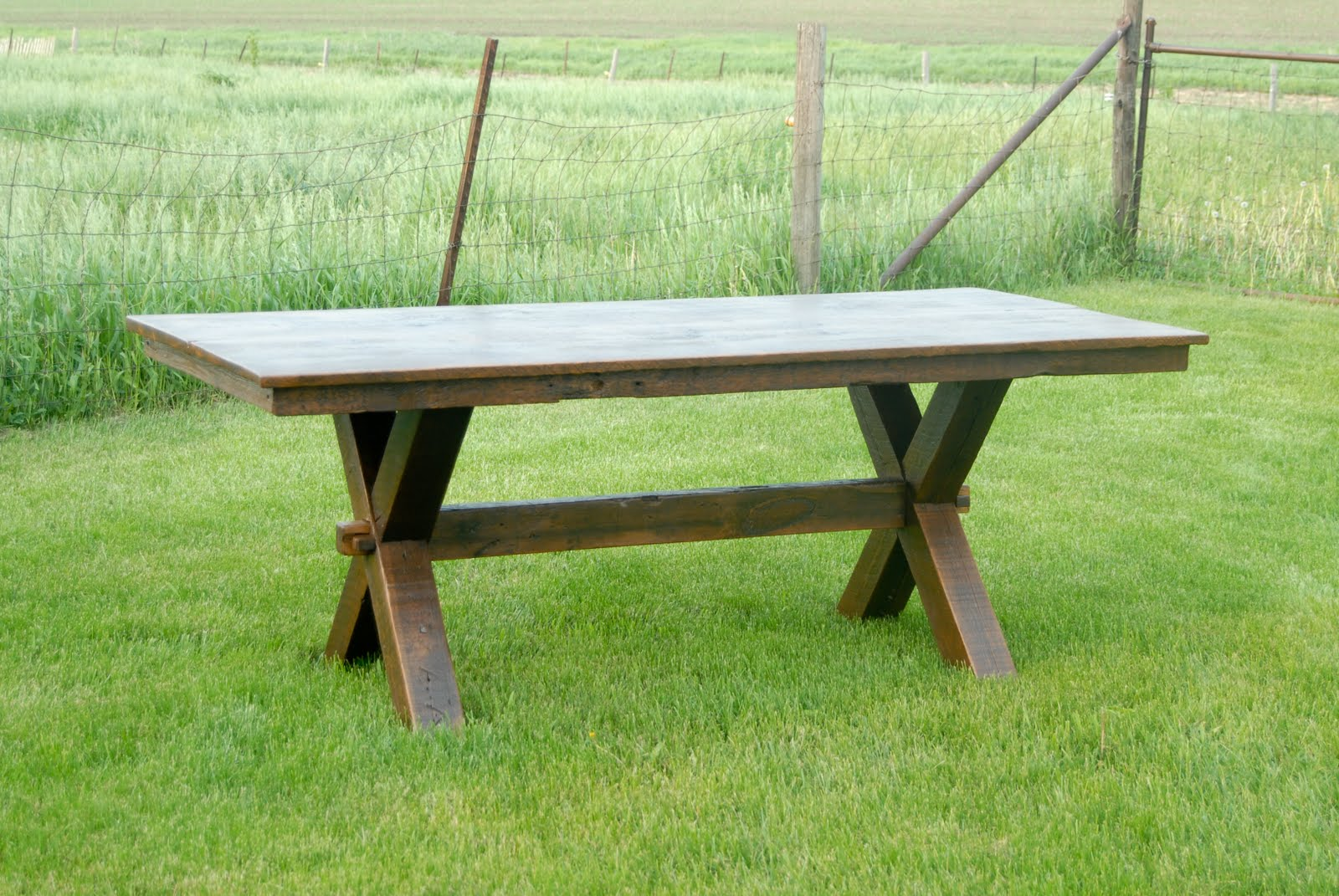 lg custom woodworking trestle picnic style dining table and bench. Black Bedroom Furniture Sets. Home Design Ideas