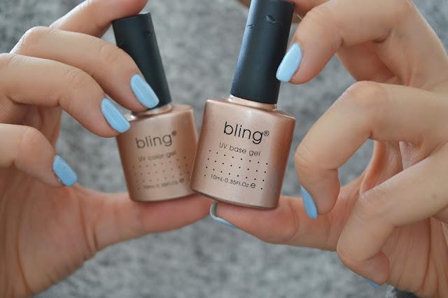 manicure, baby blue, nails, hybryda, manicure hybrydowy, hybryda bling,