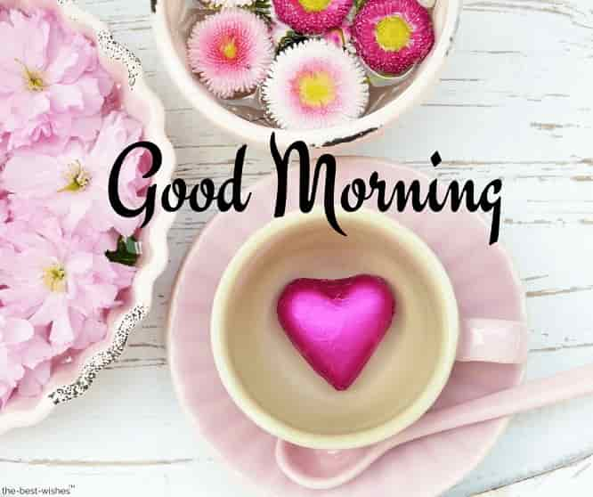 good morning with heart coffee
