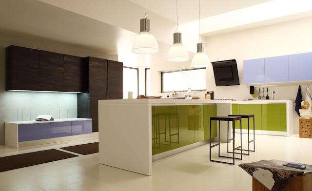 cocina azul y verde