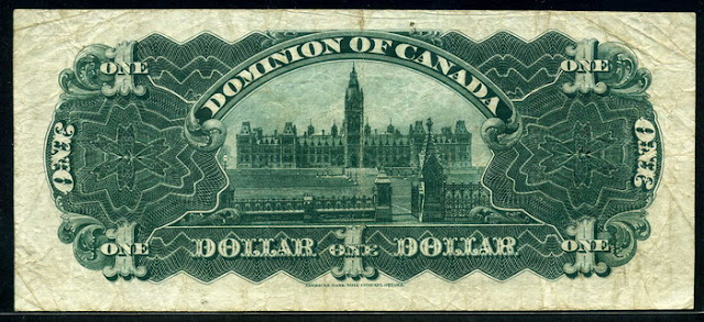 Dominion of Canada bank notes Dollar bill money currency