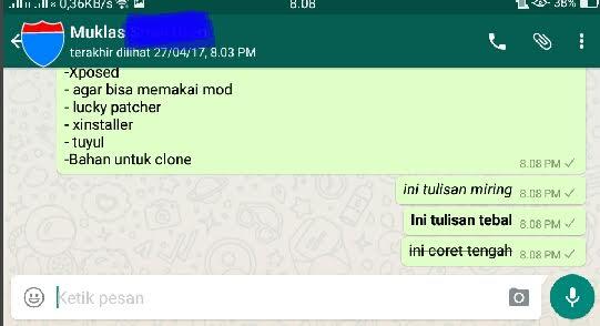 tulisan whatsapp miring