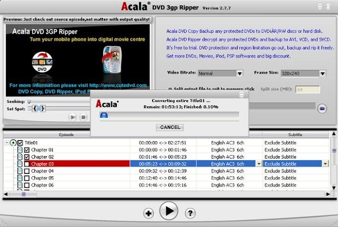 Acala DVD 3GP Ripper - Δωρεάν πρόγραμμα που μετατρέπει τα DVD σε 3GP και όχι μόνο