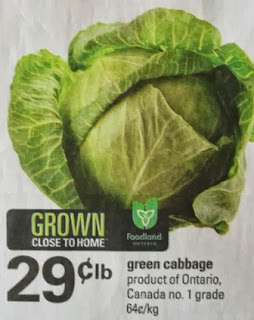 Ontario green cabbage $0.29 per lb