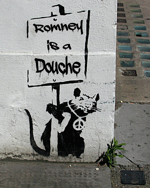 Romney is a Douche (Banksy placard rat)