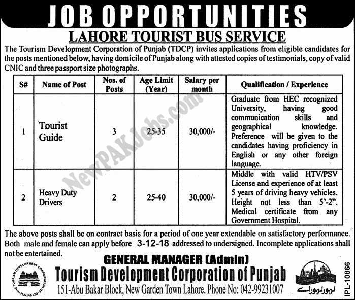 New Jobs in Lahore Tourist Bus Service November 2018