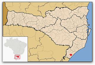 Cidade de Sombrio, no mapa de Santa Catarina
