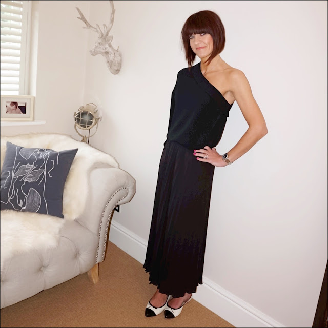 My Midlife Fashion, Marks and spencer one shoulder frill collar long sleeve blouse, handm pleated maxi skirt, j crew two tone monochrome pointed ballet pumps