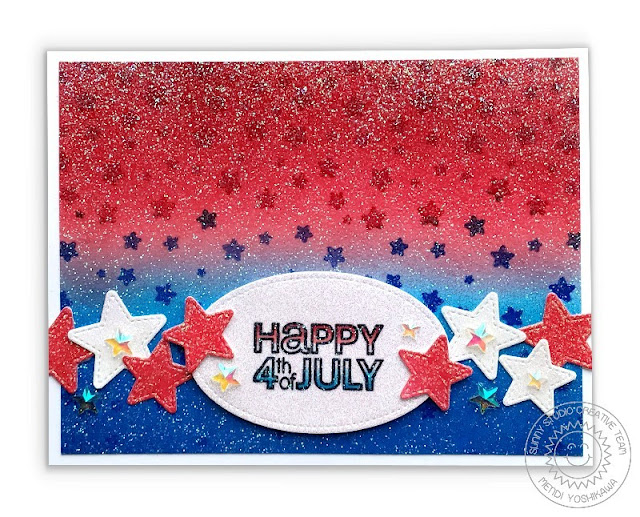 Sunny Studio: Glittery Red, White & Blue Fourth of July Card (using Fancy Frames Oval Dies, Window Trio Square dies, Cascading Stars Stamps and Stars & Stripes Stamps)
