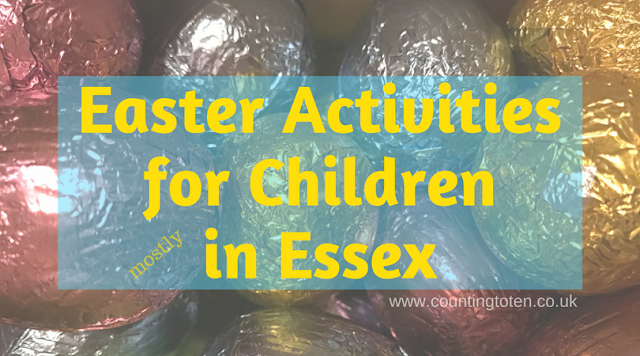 "Title ""Easter activities for children mostly in Essex"" on a backdrop of coloured foil wrap eggs from the coop"
