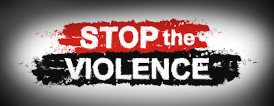 words that read stop the violence