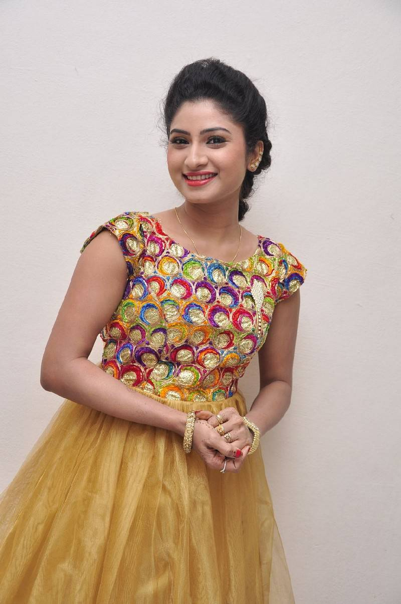 Actress Vishnu Priya Stills In Yellow Dress Audio Launch