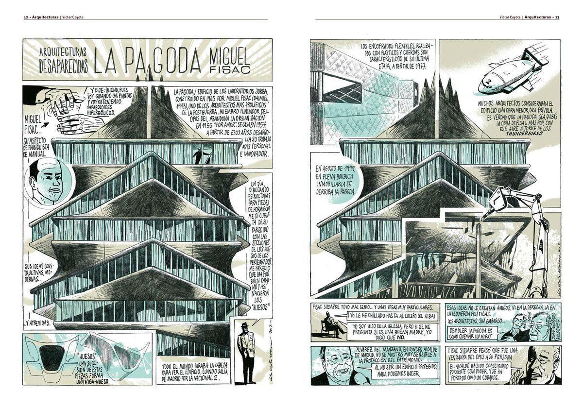 Dos páginas del cómic Arquitecturas Desaparecidas: La Pagoda de Miguel Fisac, autor desconocido