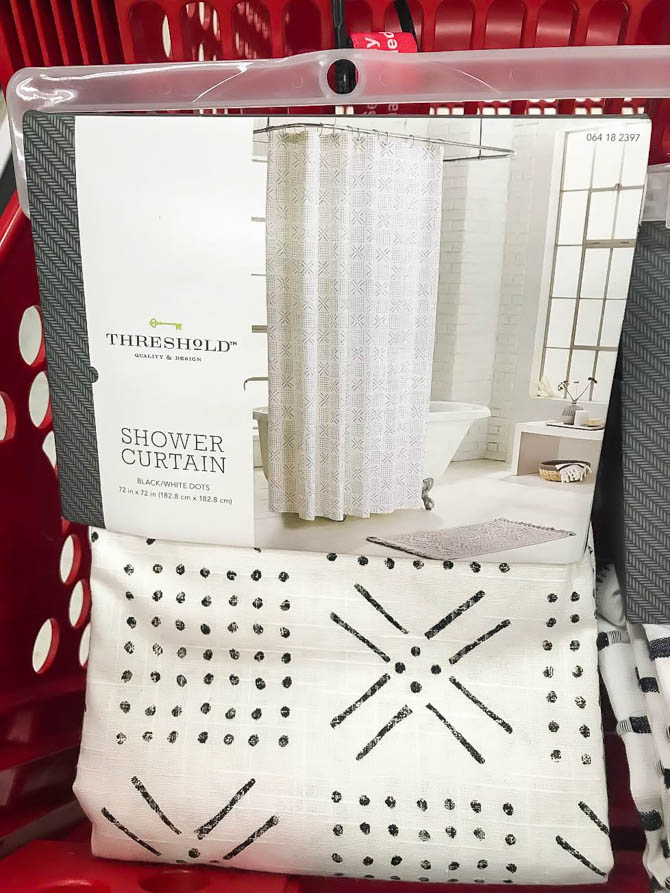 Black and white shapes shower curtain