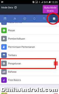 menu pengaturan Facebook lite