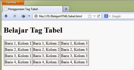 Contoh tabel pada web browser