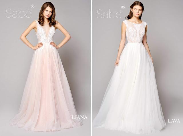 Atelier SABE suknie ślubne. Kolekcja 2019 Ethereal. Suknia ślubna, długa, tiulowa różowa, Długa, biała.