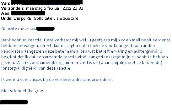 geen reactie op sollicitatie Veel succes bij het vinden van een passende baan!: 2012 geen reactie op sollicitatie