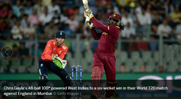 Gayle's Quick 100 Help West Indies Beat England In World T20