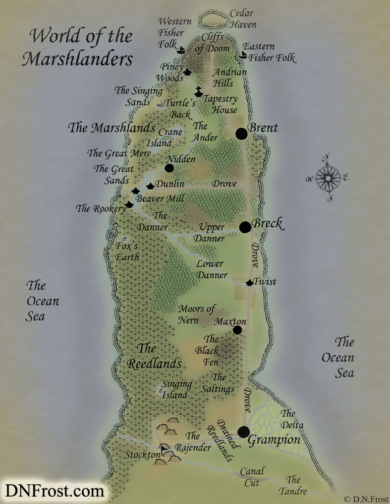 World of the Marshlanders, a map commission by D.N.Frost for Annis Pratt http://DNFrost.com/portfolio