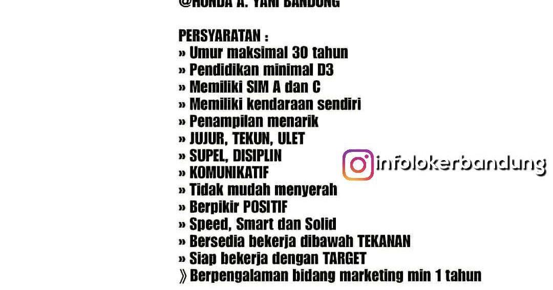 Lowongan Kerja Salesman Sales Girl Sales Counter Honda Ahmad Yani Bandung Januari 2018 Info Loker Bandung 2020