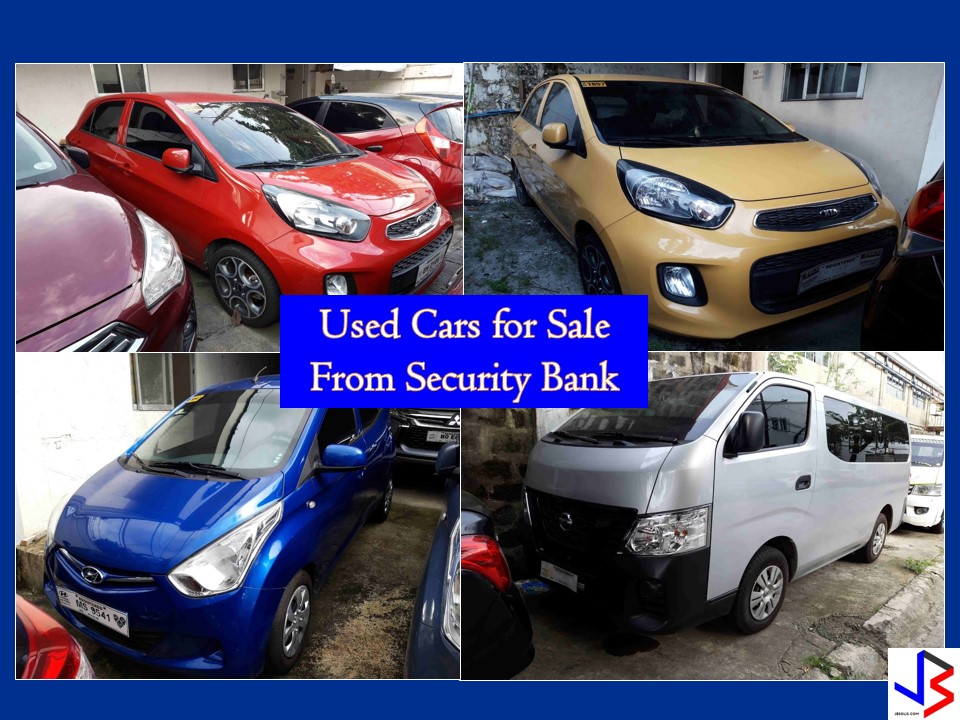 Planning to buy a car? Check this list first from Security Bank! The following are a list of affordable and high-quality used cars for sale. You can choose from different brands like Ford, Kia, Hyundai, Nissan, and Mitsubishi. You can view used cars for sale on Security Bank's showroom at Cervantes St., Bormaheco Compound, Parañaque City, Metro Manila. Warehouse Hours from 9:00 am to 4:30 pm.  For Questions Please contact account officer Chrisline Balute (632) 867-6788 local 8995 (632) 867-8995 Email: cbalute@securitybank.com.ph  Note. JBsolis.net is not affiliated with Security Bank. All information in this article is taken from Security Bank's website and for general purposes only.