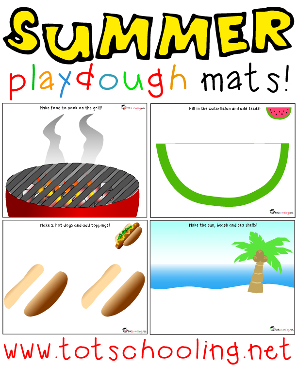 Free Summer themed Playdough Mats