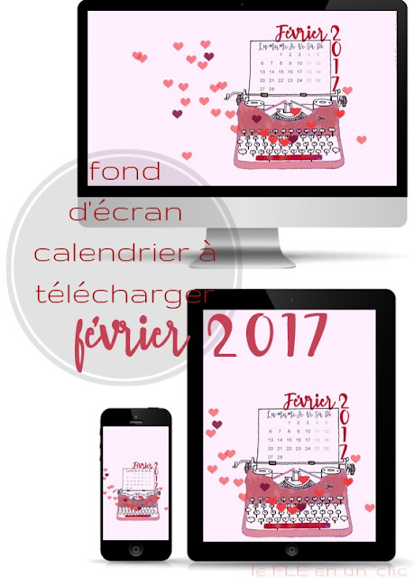 fond d'écran, calendrier février 2017, FLE, le FLE en un 'clic'