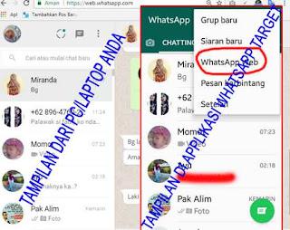 tampilan whatsapp di PC atau laptop dan Ponsel atau smartphone