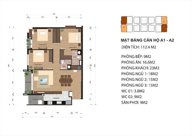 Thiết kế căn hộ A1 - A2 chung cư One 18 Ngọc Lâm