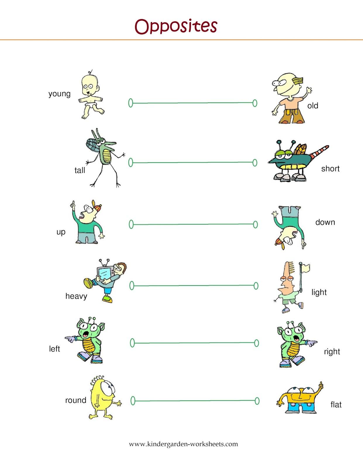 Kindergarten Worksheets: Kindergarten Worksheets- Opposite ...