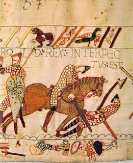 Bayeux Tapestry showing Harold with an arrow in his eye
