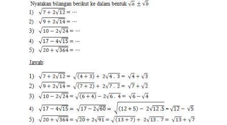 Bank Soal Matematika Kelas X Sma Bentuk Akar Ibu Guru Susi Sr