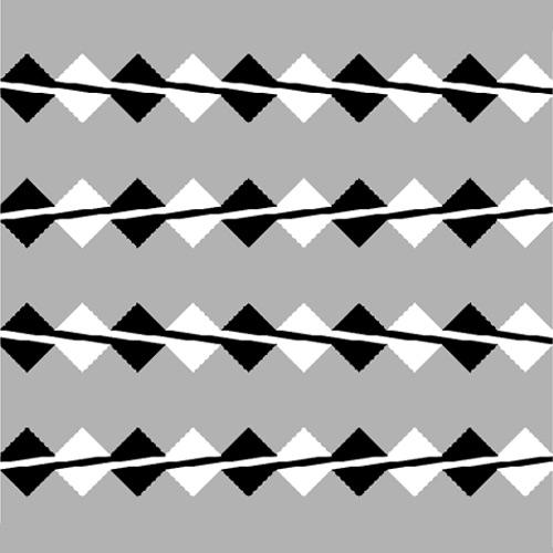 Yan yana duran siyah beyaz renkli çapraz karelerin ortasından geçen çizgilerin eğri gibi görünmesi