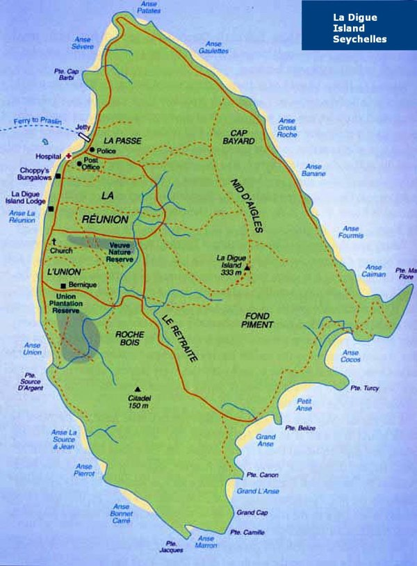 la Digue, Seychelles, beaches, map