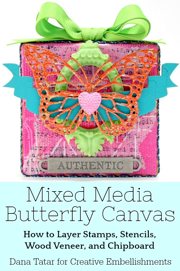 Stamped and Stenciled Mixed Media Butterfly Canvas with Chipboard and Wood Veneer Embellishments