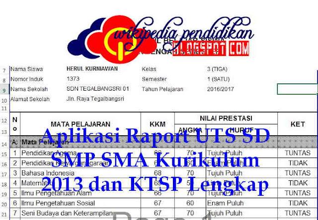 Aplikasi Raport UTS SD SMP SMA Kurikulum 2013 dan KTSP Lengkap