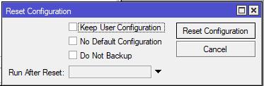 menu reset configuration