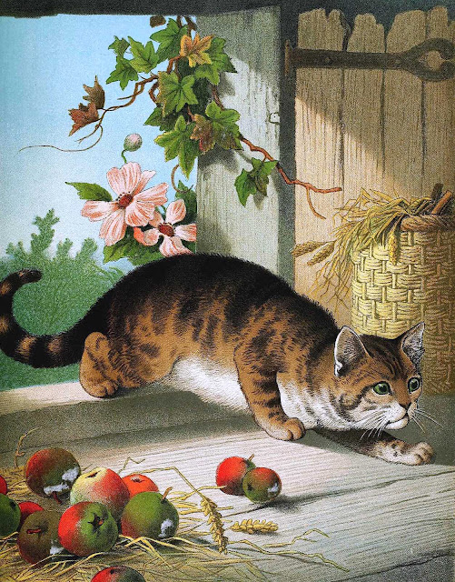 from an 1880s children's book farm cat hunting mice, detailed color illustration