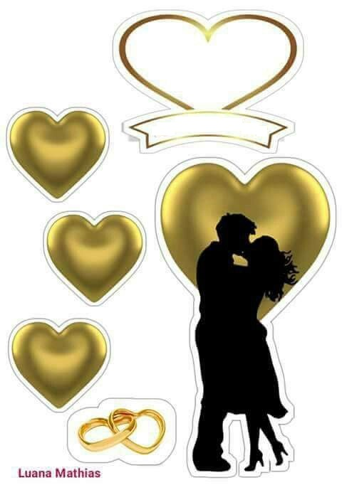 Golden Hearts Free Printable Cake Toppers.   Oh My Fiesta Wedding!