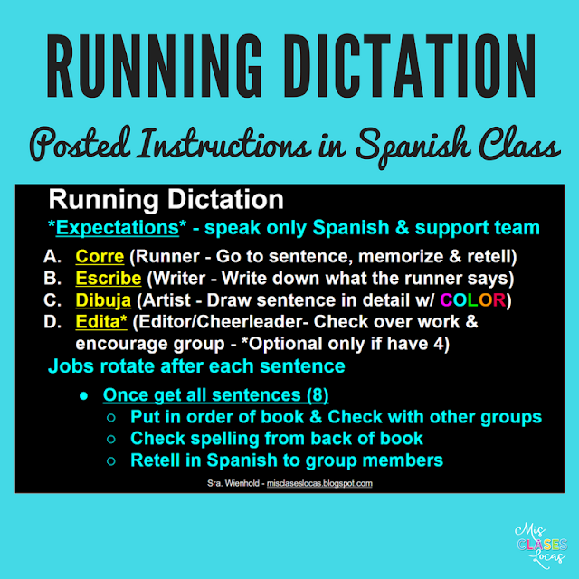 Running Dictation in Spanish class