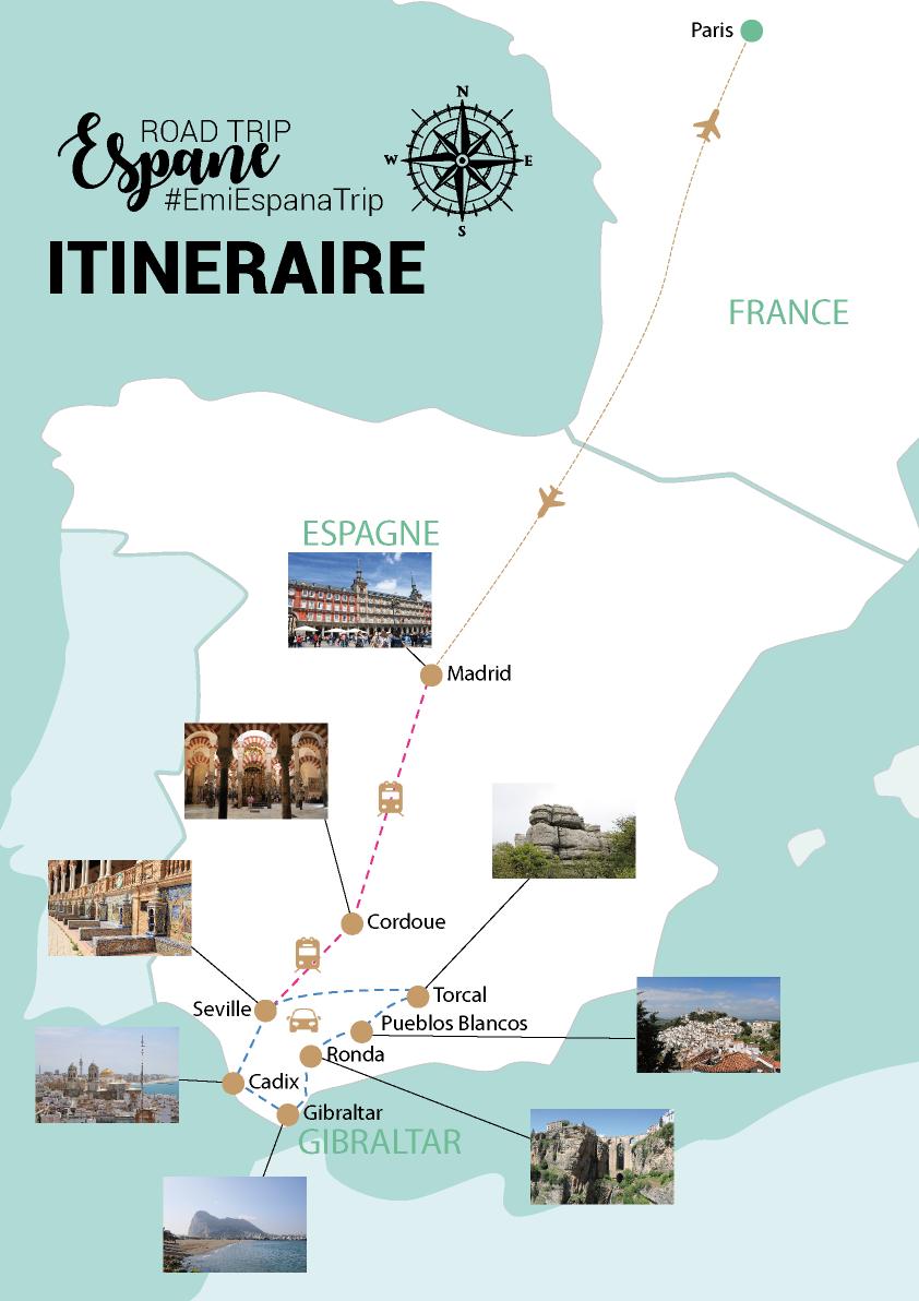 My Travel Background : mon road trip de 10 jours en Andalousie, Espagne : itinéraire et infos pratiques - Carte map