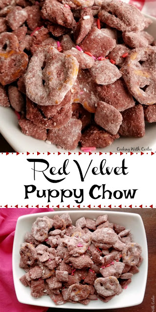 A childhood favorite treat kissed with red velvet and pretzels. It is sweet, a little bit salty and crunchy. It is perfect for Valentine's Day or any day!