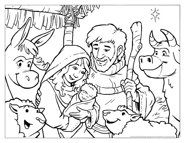 Simple Christmas Nativity Scene Printable Coloring For Jesus Christ Christmas  Coloring Pages