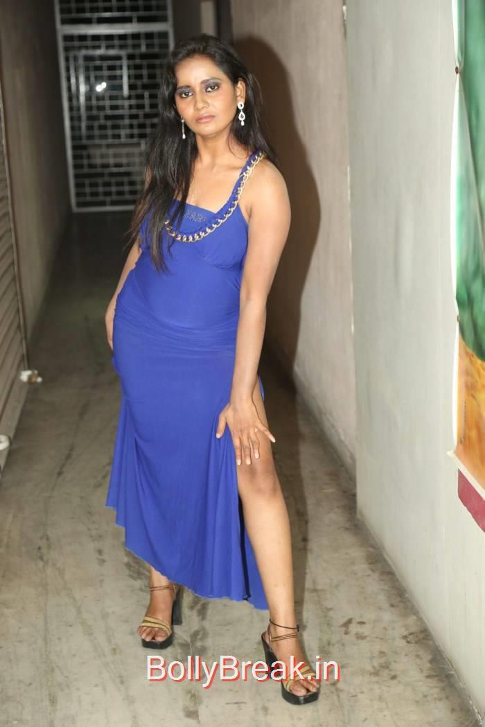 Anusha Pics, Anusha Hot Pics in Blue Dress