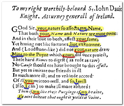 "in the ""Scourge of Follies"" (Date of print not secured  >1610)  one John Davies wrote a dedication to the other! How do you interprete this poem?"